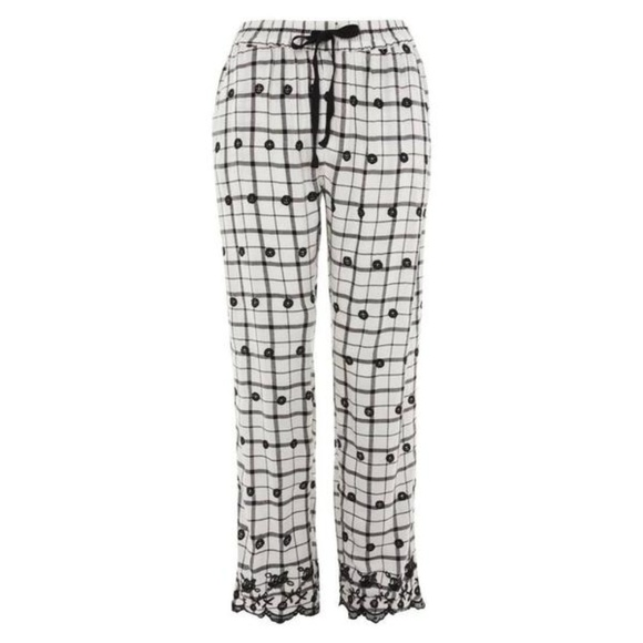 Topshop Other - Topshop Windowpane Embroidered Trousers, Size 6